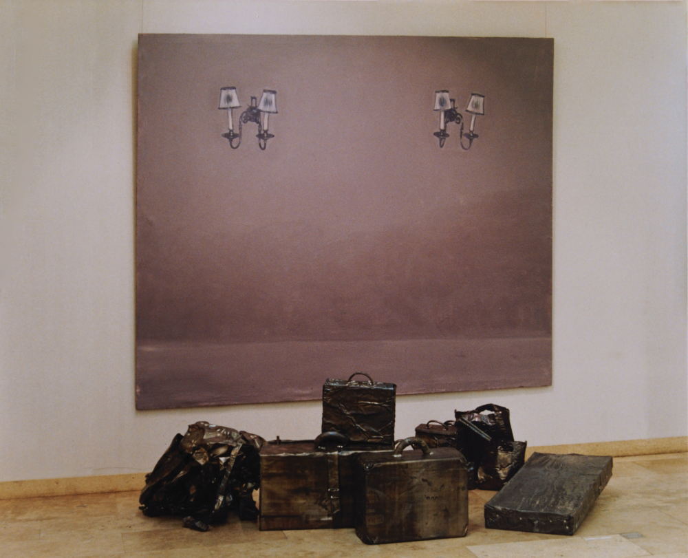 attila szucs, untitled, oil canvas, lead suitcases, 220x260x150cm. 1992