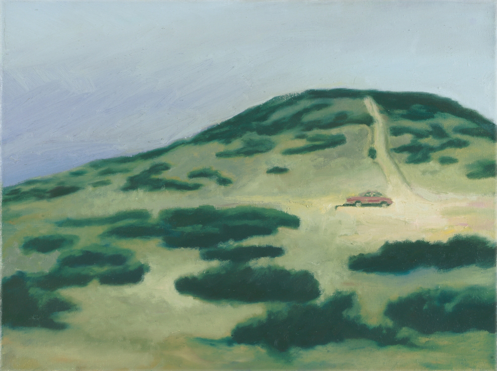car in landscape o.c. 30x40cm 1997