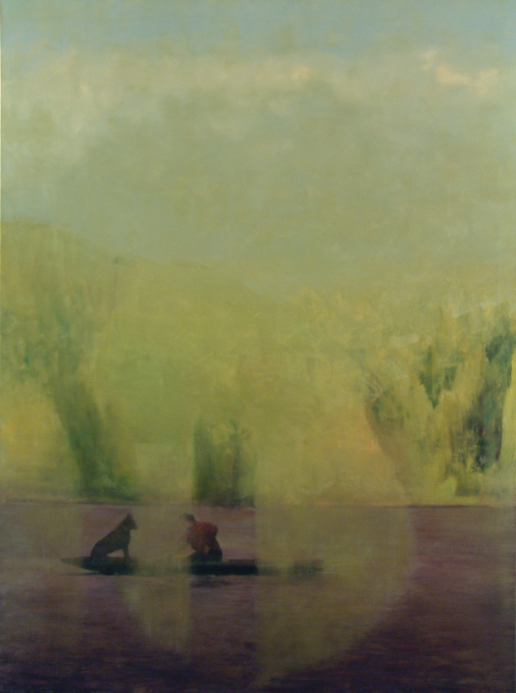 landscape with boat o.c. 200x150cm 1997