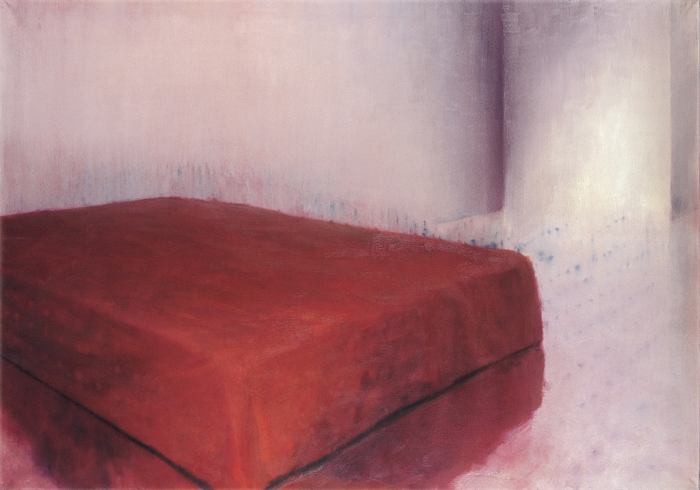 room with red bed o.c 140x200cm 1998
