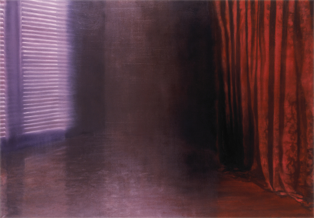 room with red curtain o.c 140x200cm 1998