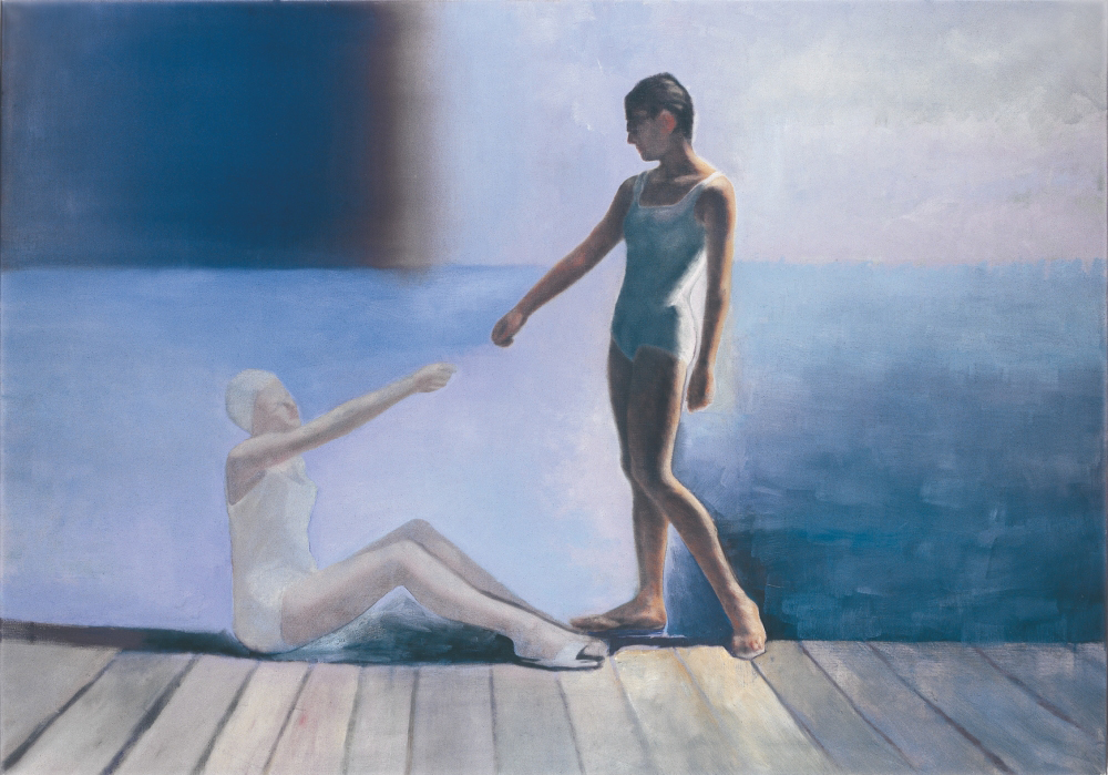 two figures on a stage o,c. 140x200cm. 1998