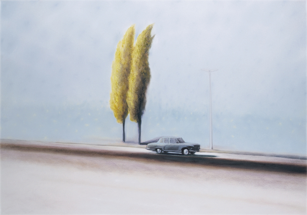 car with two trees o.c. 140x200cm 1999