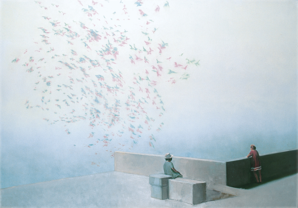children watching a flock of birds o.c. 140x200cm 1999