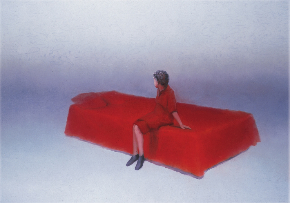 figure sitting on bed o.c. 140x200cm 1999