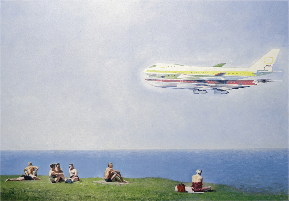 sun.bathers with aircraft o.c. 150x200cm 1999