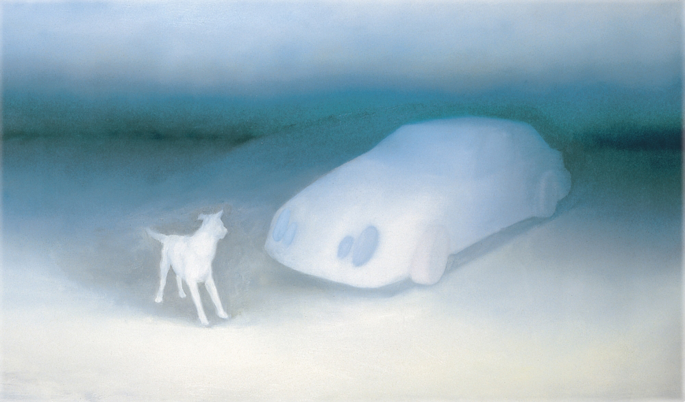 without title o.c. 70x120cm 1999 dog+car