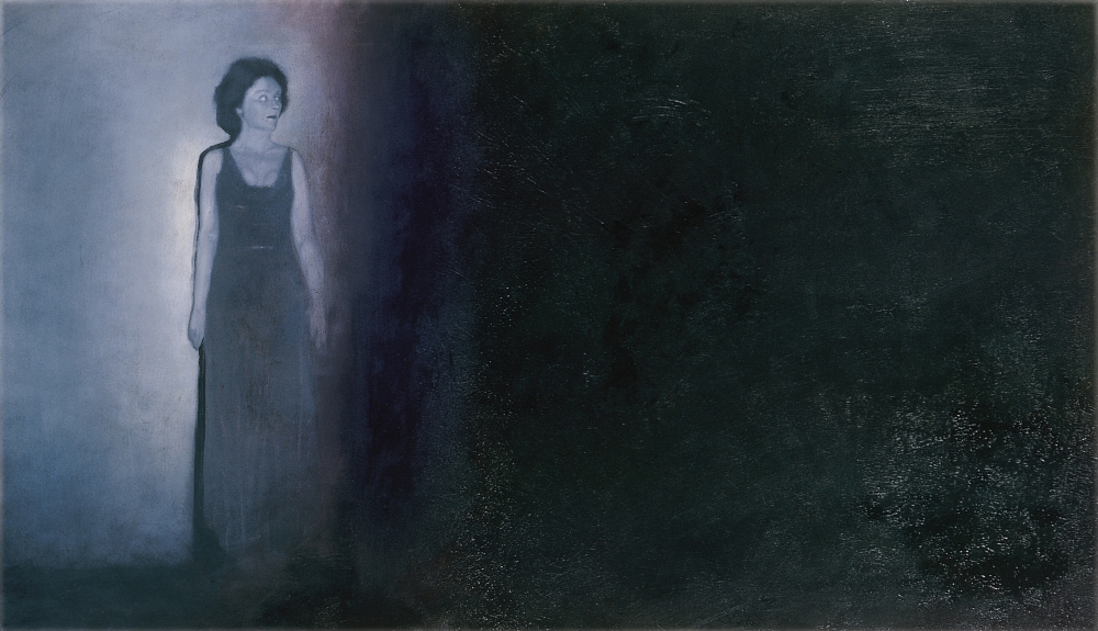 woman with dark background o.c 70x120cm 1999