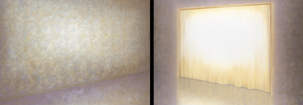 room with yellow curtain and wallpaper o,c. 140x400cm. 2000