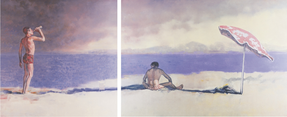 sun bathers with umbrella o,c. 140x340cm. diptich. 2000