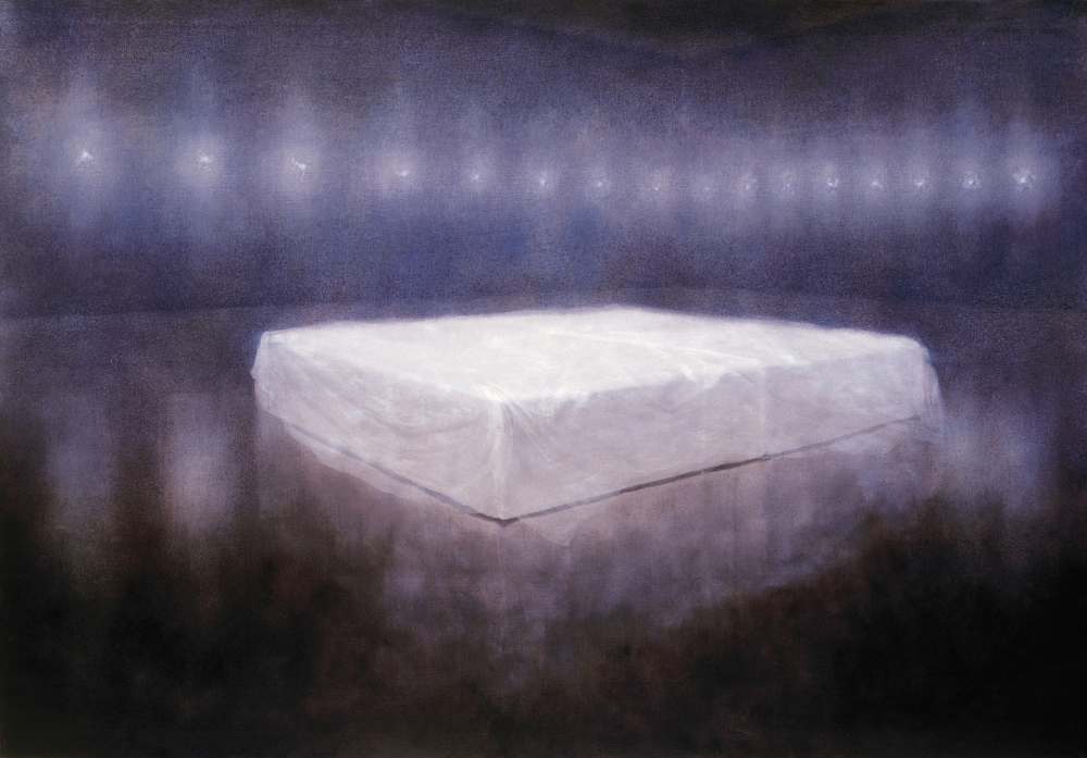 bed with line of lamps o.c. 140x200cm 2001