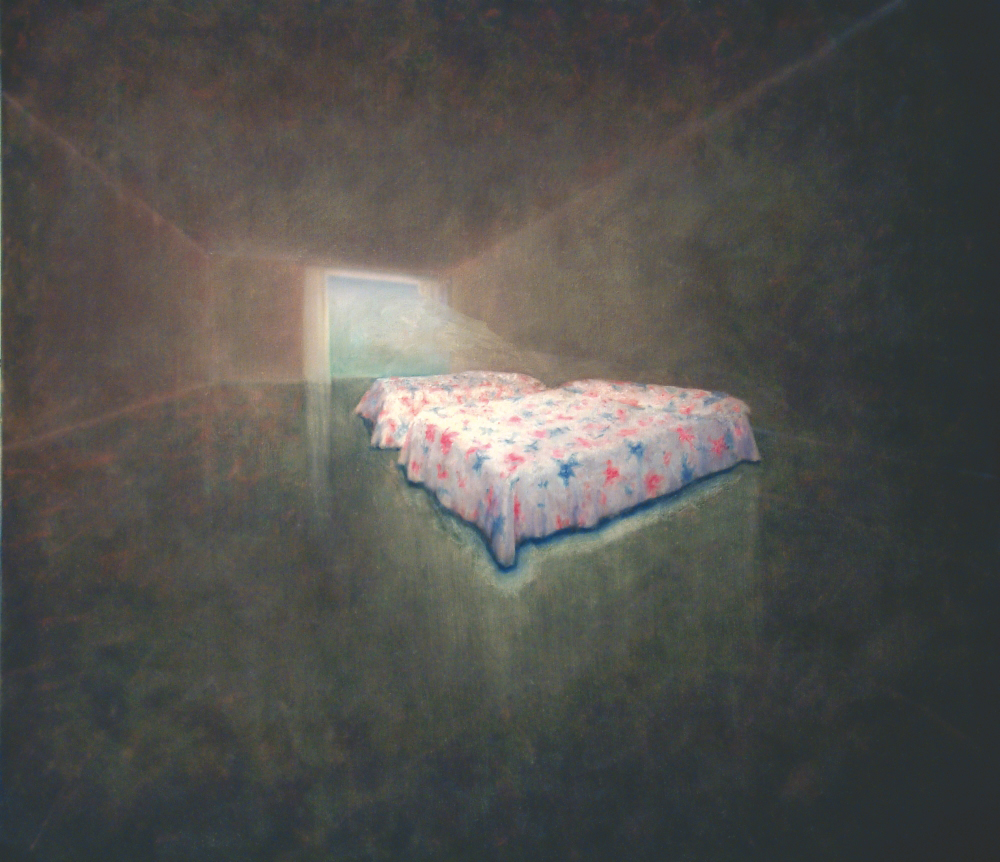 beds with patterned blanket o.c. 150x170cm 2001