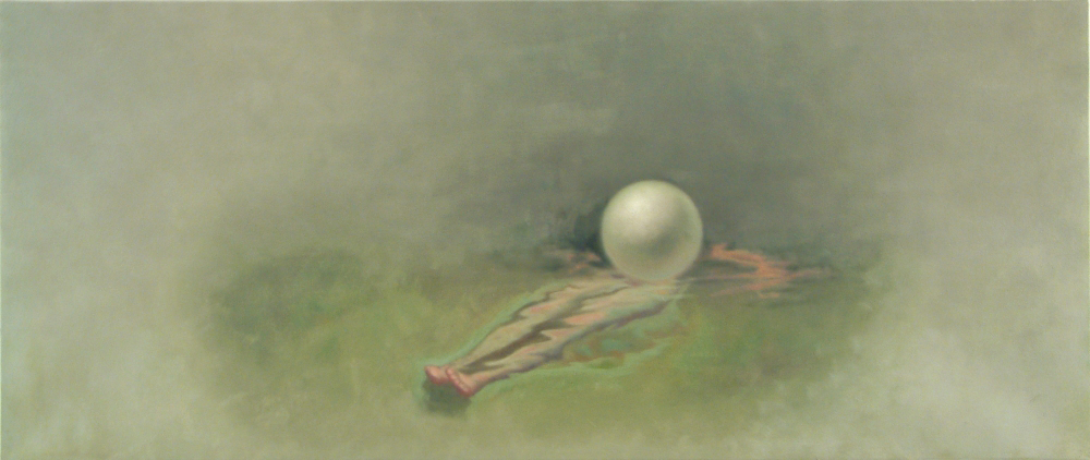 figure floating on waterwith ball o,c. 40x95cm.2001