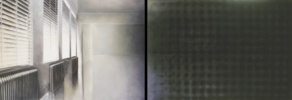 shades with dark spots o.c. 140x400cm. diptich