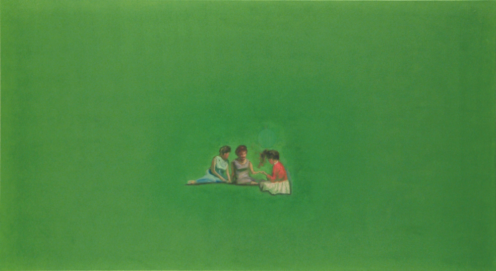 three figure in green o.c. 110x200cm 2001