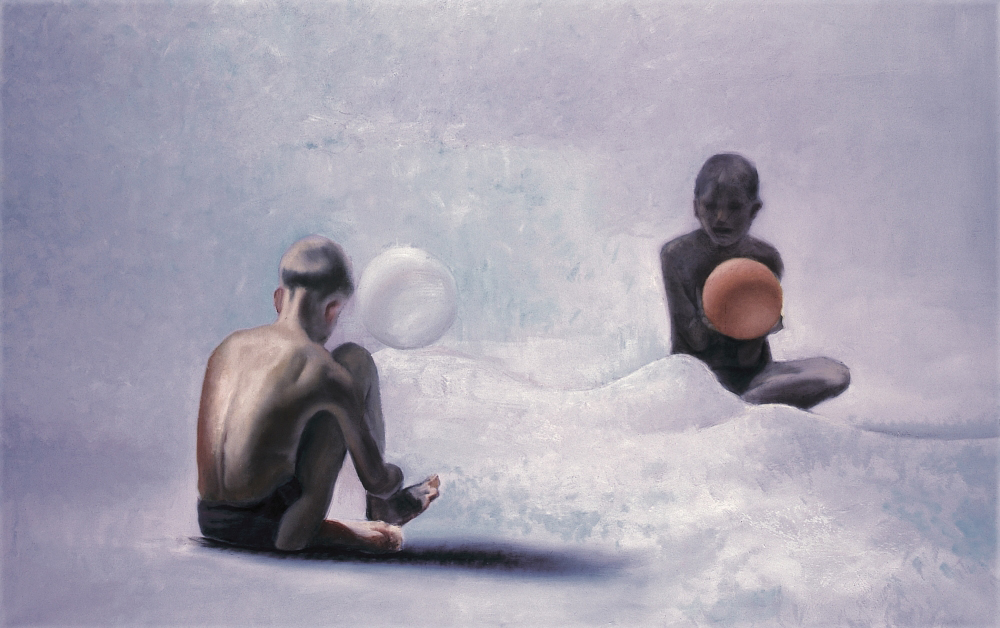 two boy with a ball o,c. 140x220cm 1997