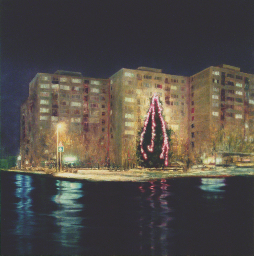 block of flats with christmas tree o.c 200x200cm 2002