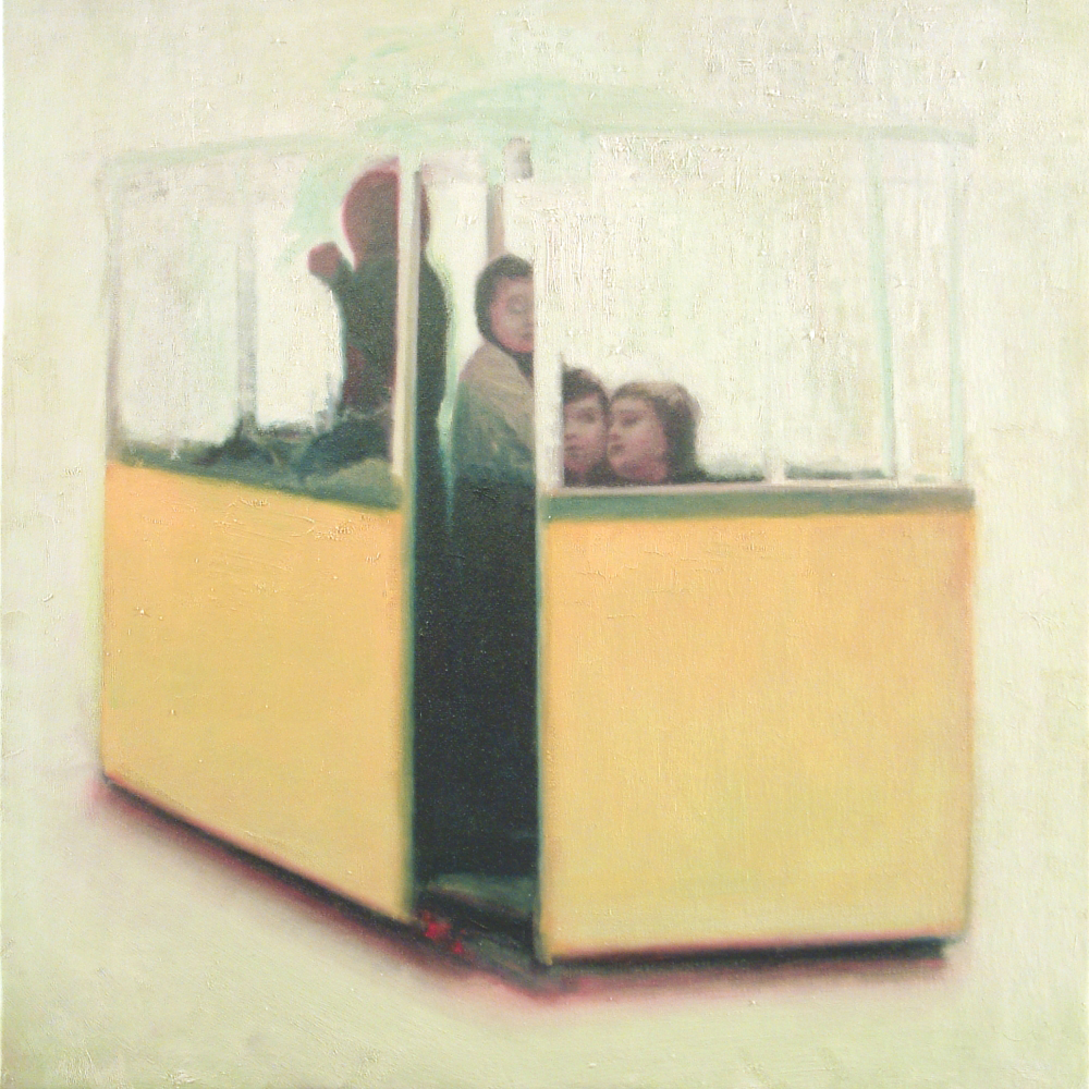 children on tram in 1973 o.c. 100x100cm. 2002