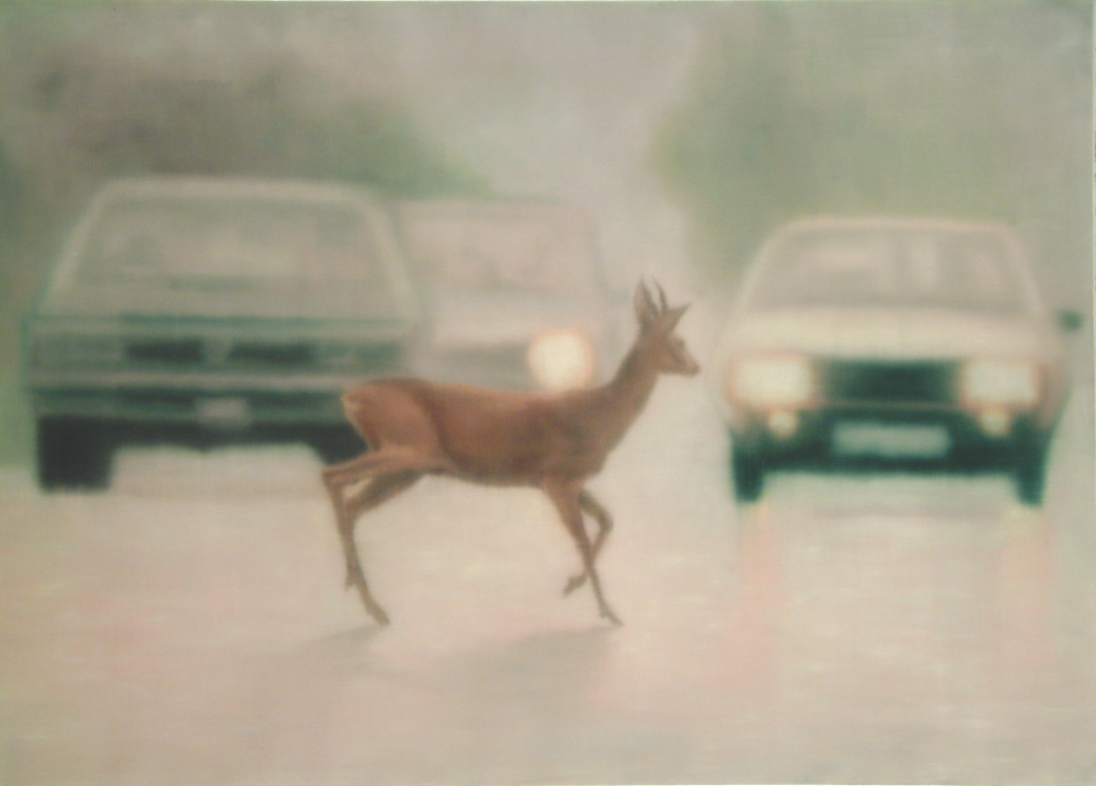 deer on highway o.c. 100x140 2002
