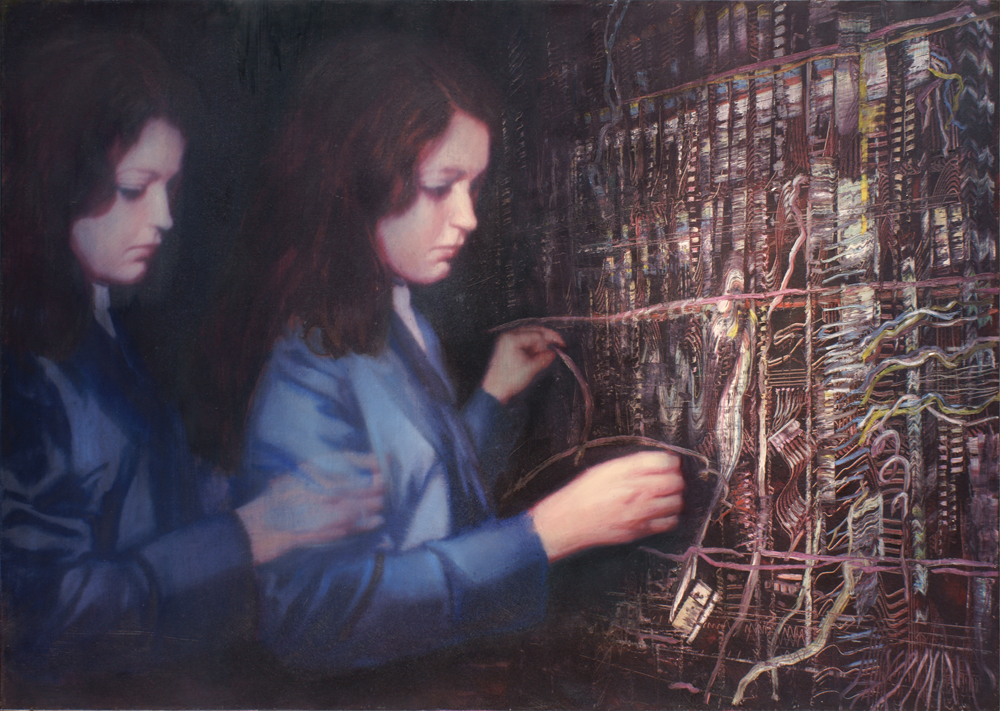 mechanical girl in the telephone center, oil on canvas, 100x140cm 2002