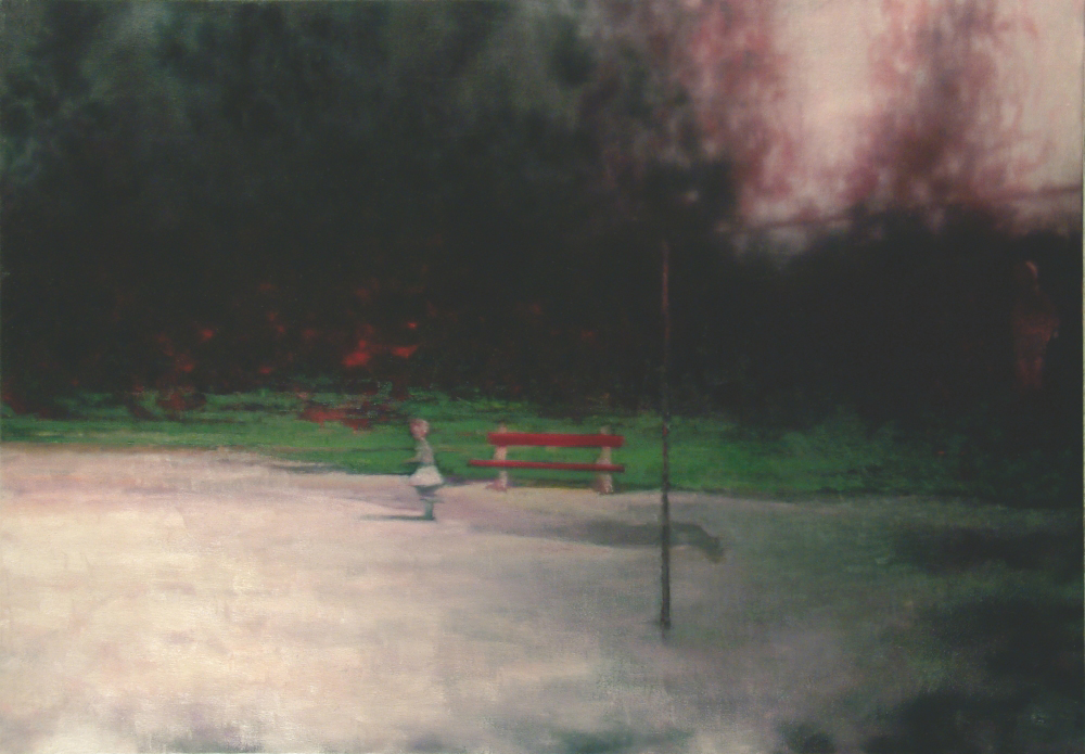 park with runing girl o.c. 140x200cm.  2002