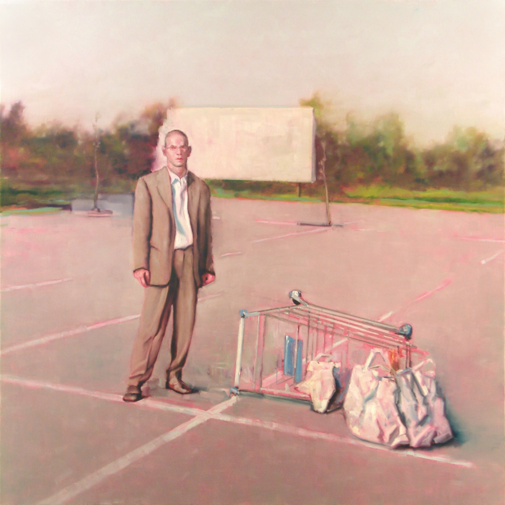 self portrait with turned up shopping trolley o.c. 200x200cm. 2002