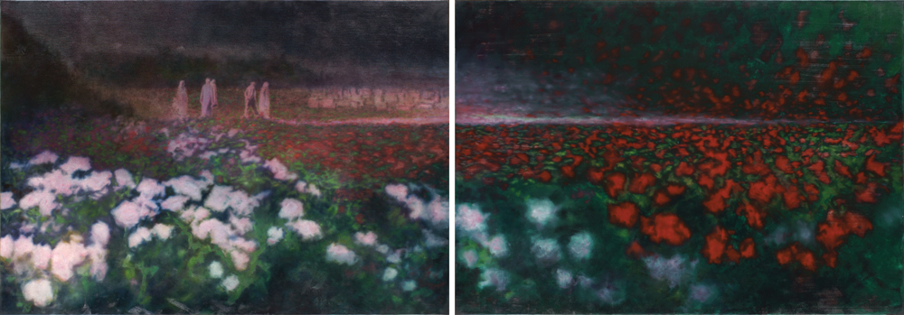 visitors, oil on canvas  140x400cm diptich. 2002