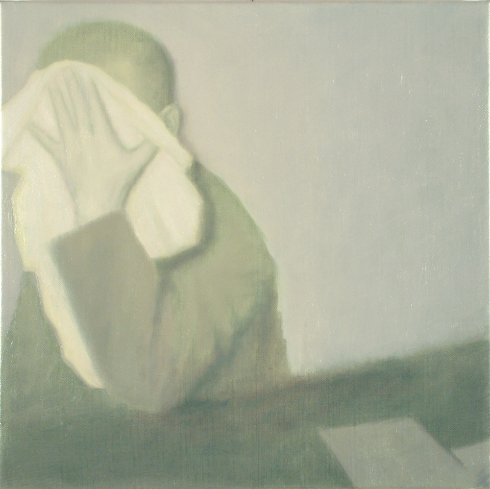 a man covering his face o,c. 55x55cm. 2003