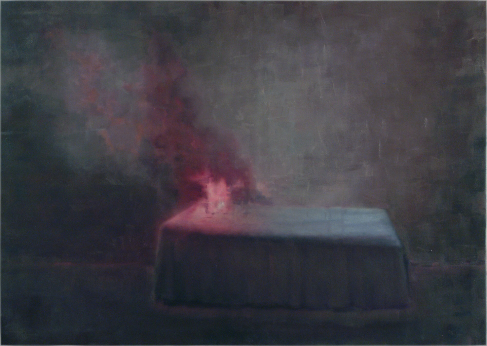 burning bed o,c. 140x200cm. 2004