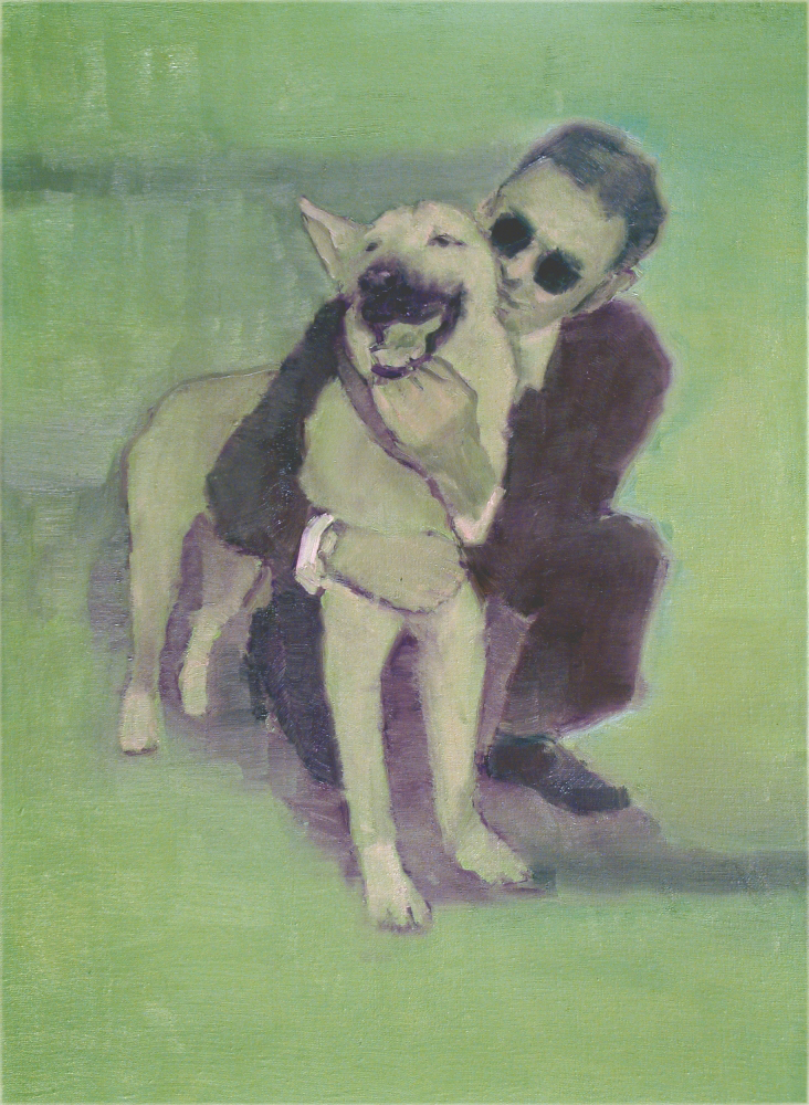 blind man with his found dog o,c. 70x50cm. 2004
