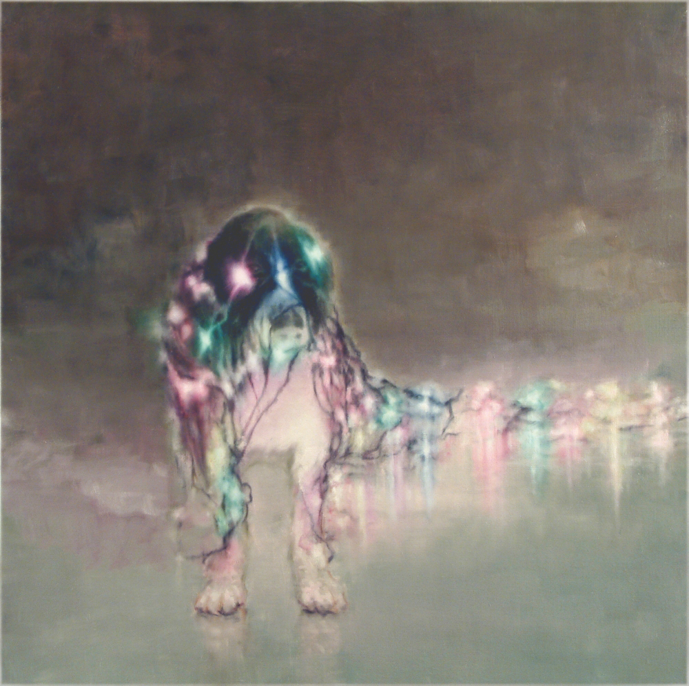 dog with christmas-tree lightnings o,c. 140x140cm. 2004