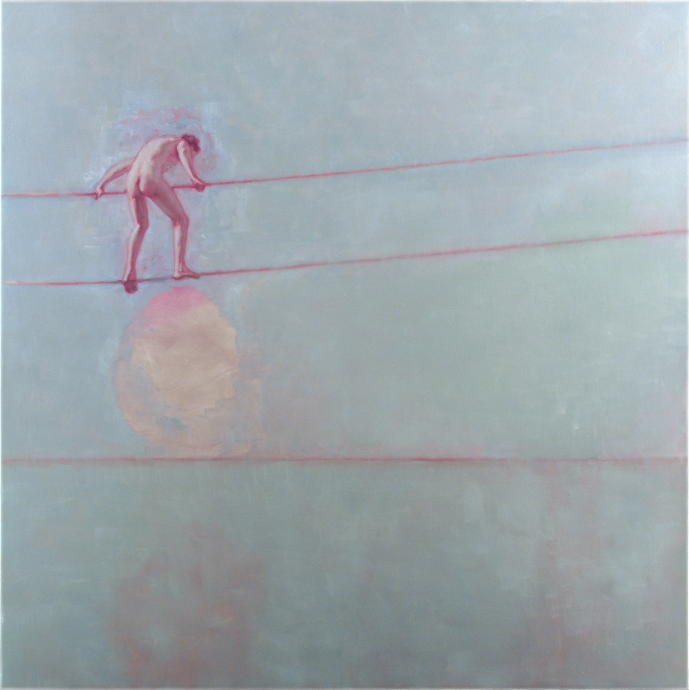 naked man climbing on wire o,c. 200x200cm. 2004