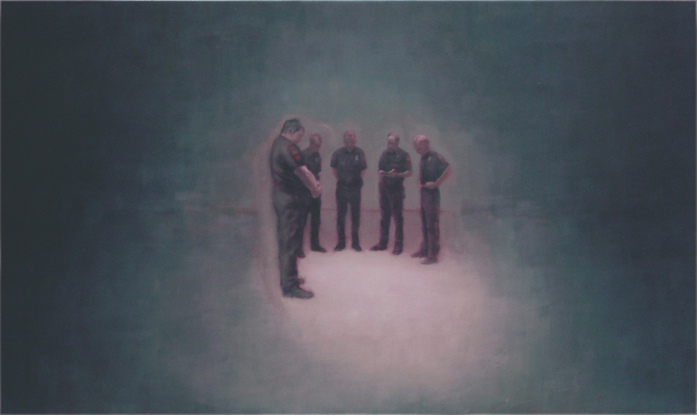 policemen standing in half-circle o,c. 140x240cm. 2004