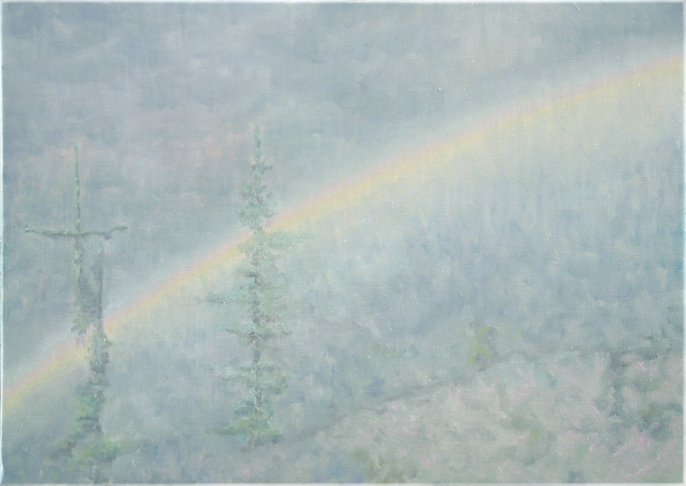 rainbow with trees o,c. 50,5x70,5cm. 2004