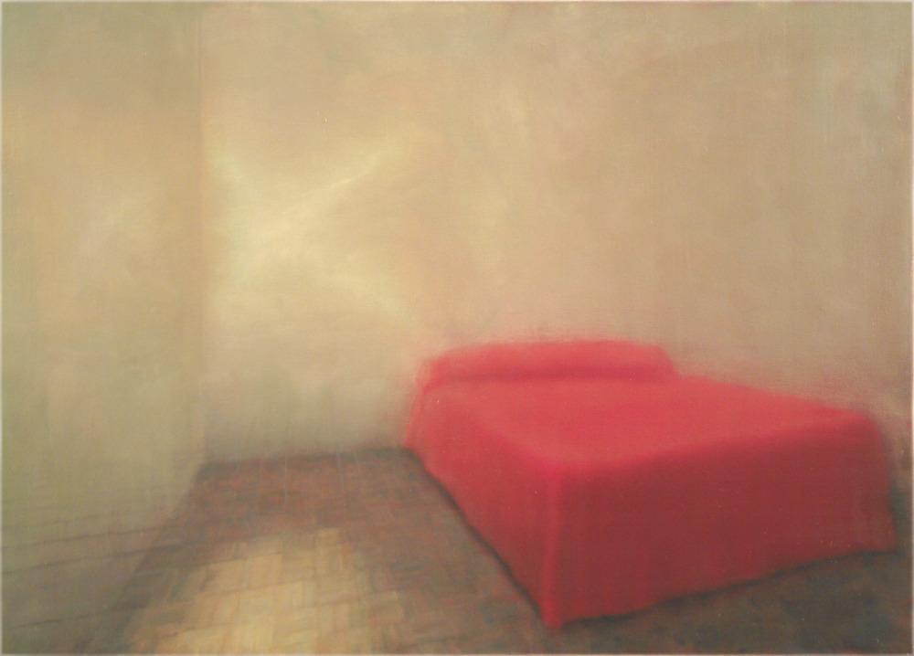 red bed with light o,c. 100x140cm. 2004