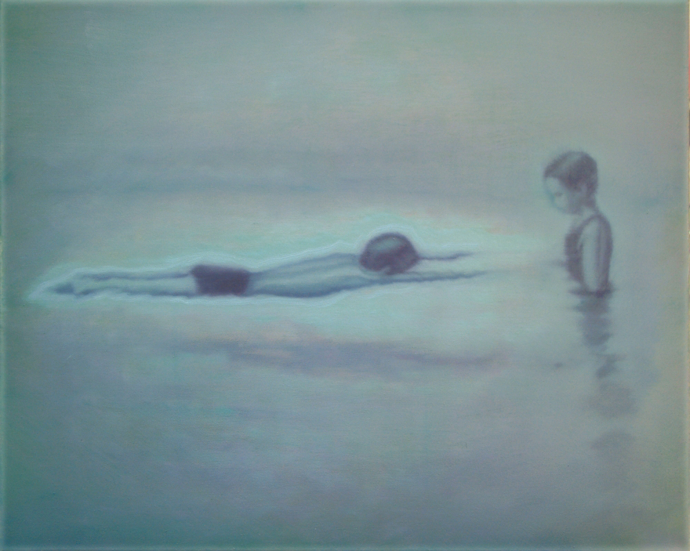 girl with floating boy o,c. 40x50cm. 2006