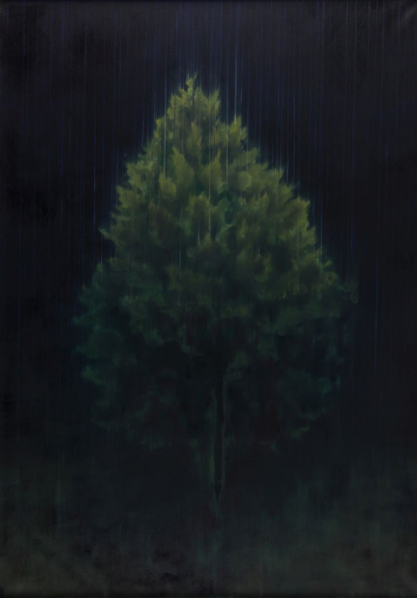 tree standing in rain o,c. 140,5x100,5cm 2006