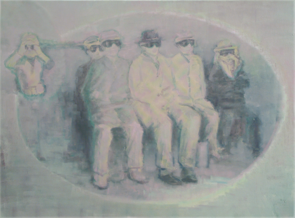 viewers of a nuclear experiment o,c. 100x140cm. 2006