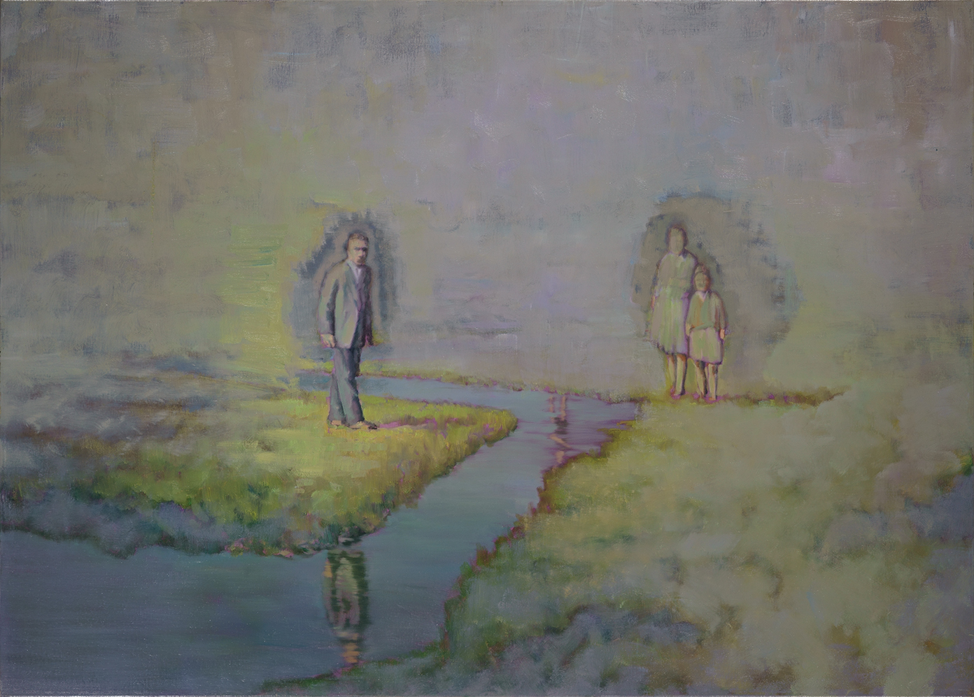meadow with three figures o,c. 100x140cm. 2007