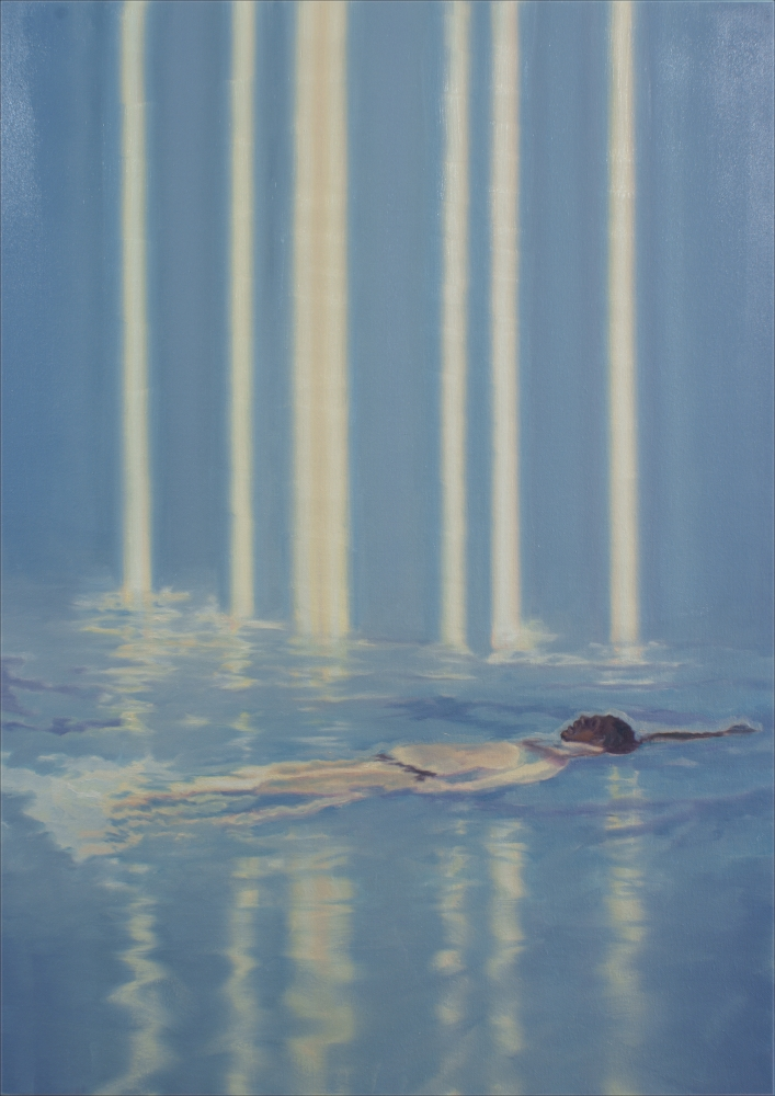 figure in blue with a stripes of light o,c. 140x100cm. 2008