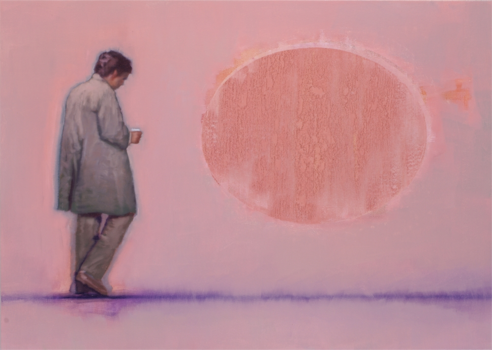 figure with pinkish blindspot o,c. 100x140cm. 2008
