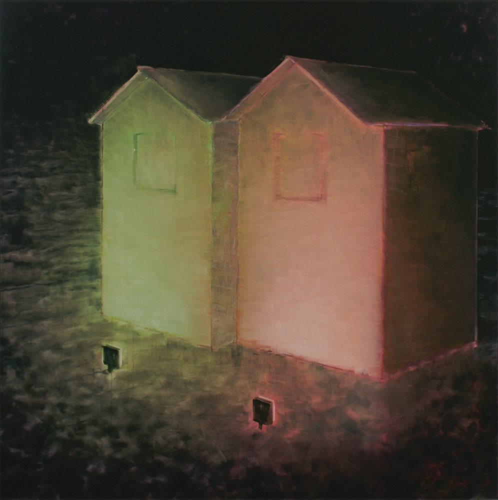 illuminated houses o,c. 190x190cm. 2008