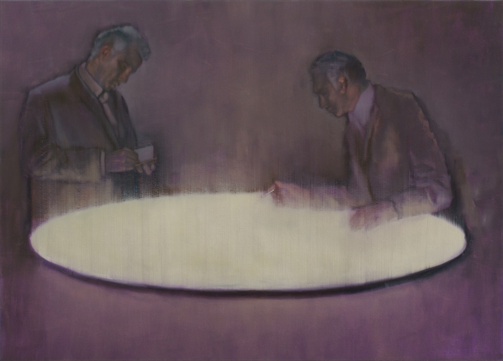 two figure with elliptic light o,c. 100x140cm. 2008