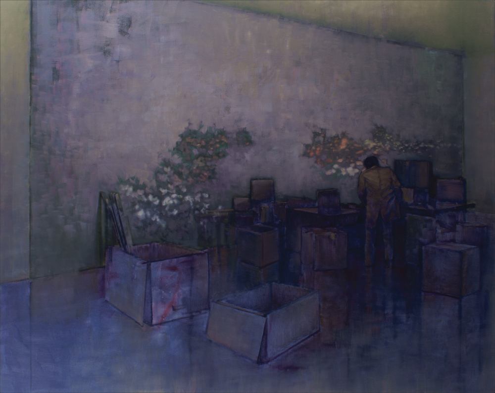 searching figure  P.F. with boxes o,c. 190x240cm. 2008