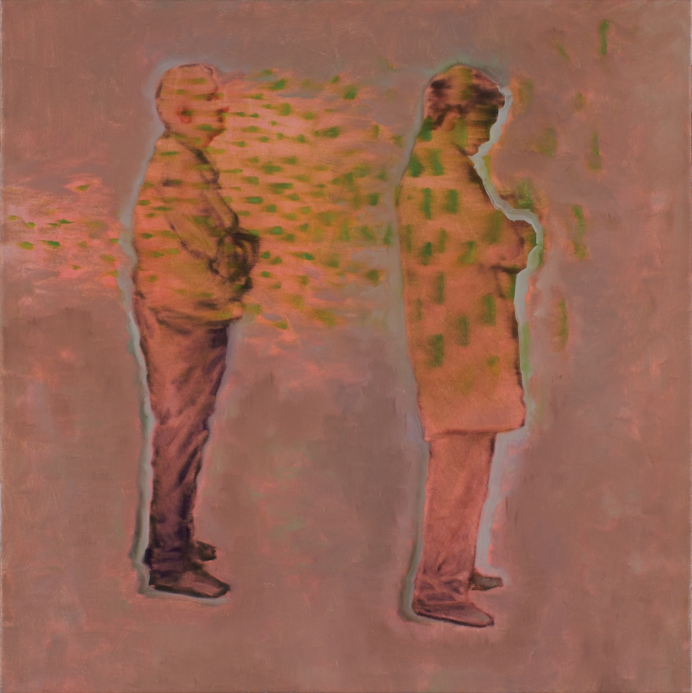 two standing figures o,c. 80x80cm, 2008