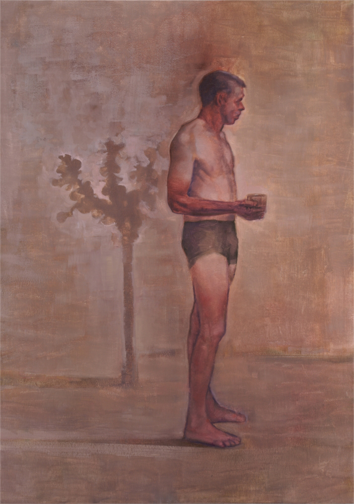 standing figure with sapling o,c. 140x100cm. 2009