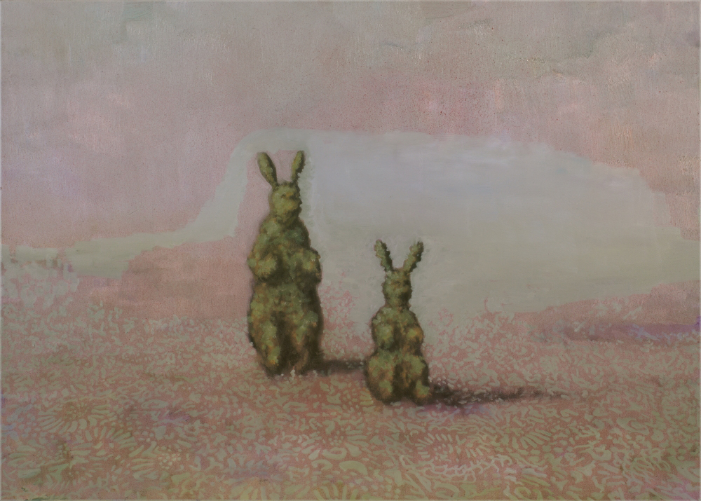 two bush-rabbit o,c. 50x70cm. 2009