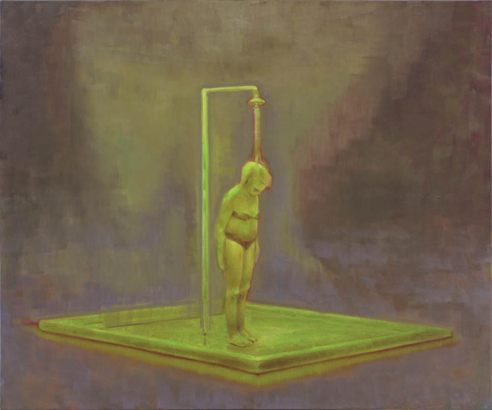 woman taking a shower in green o,c. 100x120cm. 2009