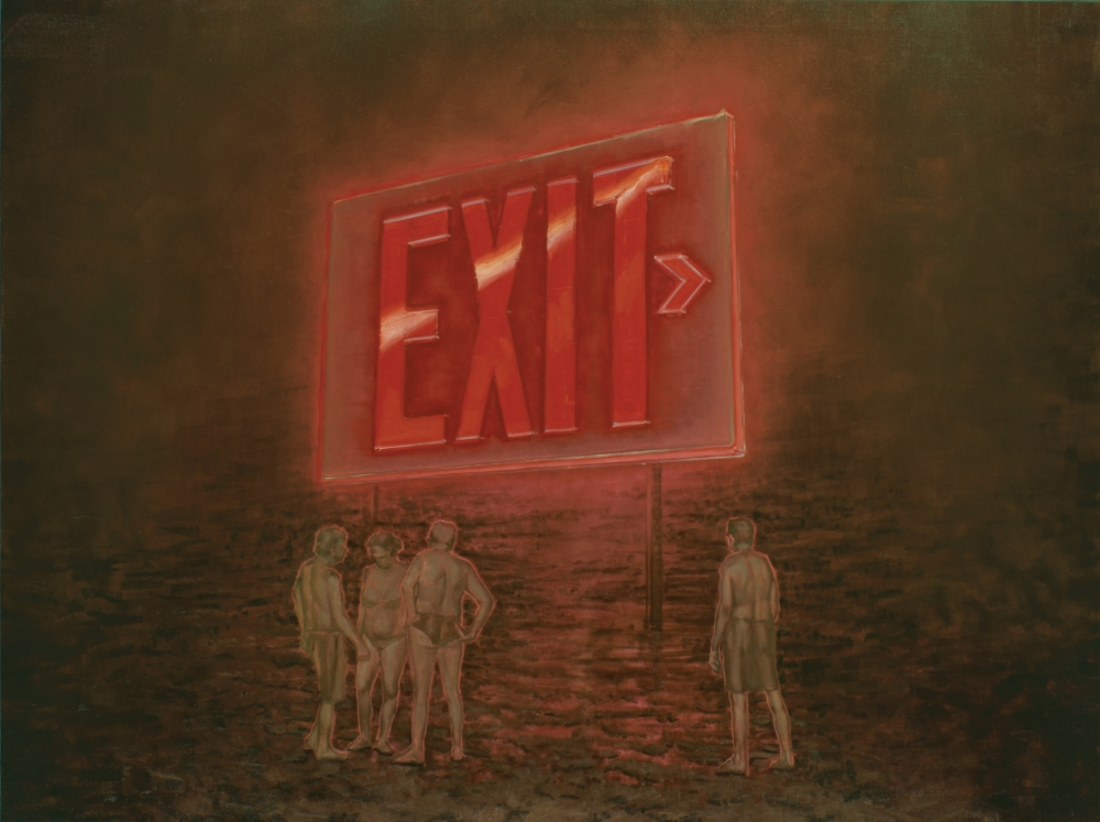 four figures under an exit sign o,c.  150x200cm. 2010