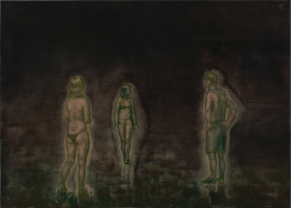 three figures at night o,c.  50x70cm. 2010